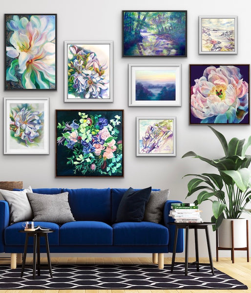 navy blue room accents with a gallery wall by anita nowinska
