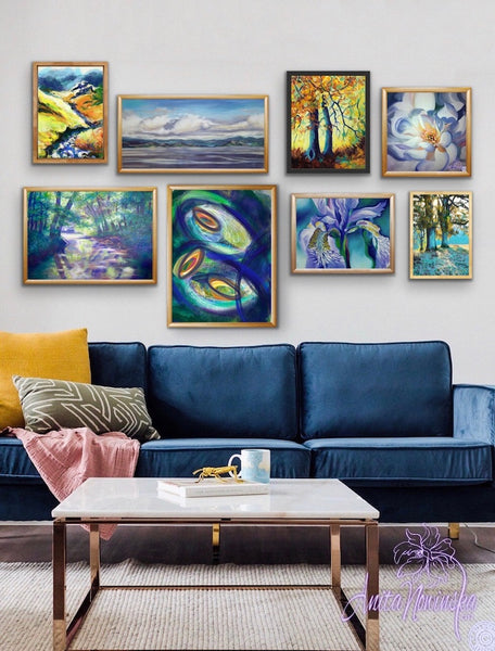 navy blue living room accents with a gallery wall
