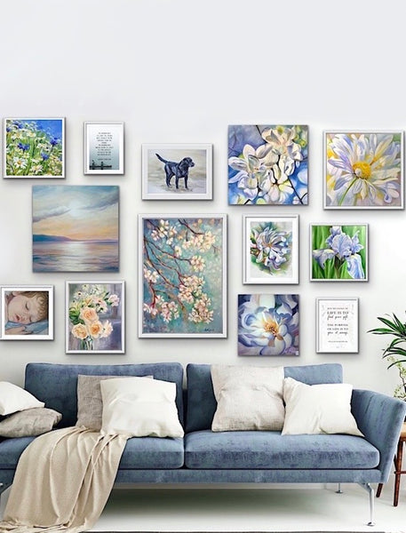 relaxing blues gallery wall for living room decor by anita nowinska