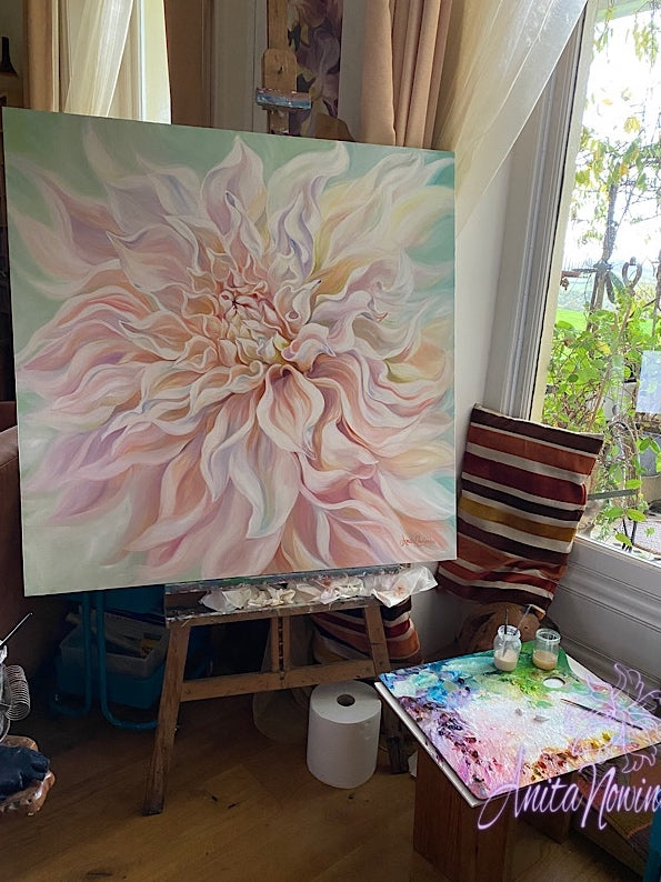 big pale peach dahlia painting on canvas by Anita Nowinska