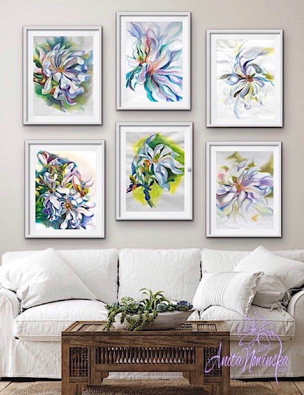 gallery wall for living room decor of magnolia flower drawings