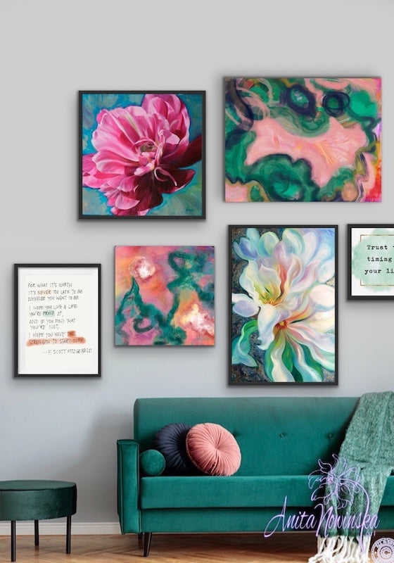 how to hang a Teal & pink themed gallery wall