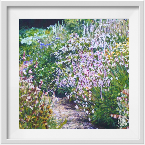 A ready framed prints of White & Green garden border flower painting