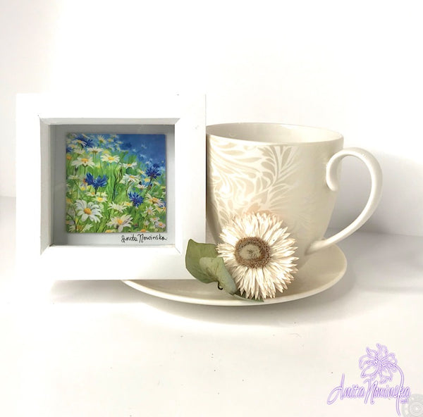Gorgeous miniature floral print from Anita Nowinska flower painting, framed in white, making a perfect little gift of colour for your interior, Daisy, cornflower