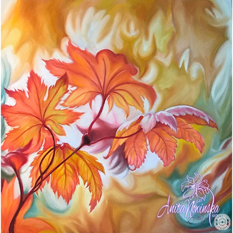 'Mellow'- Autumn Maple Leaves in Pastel