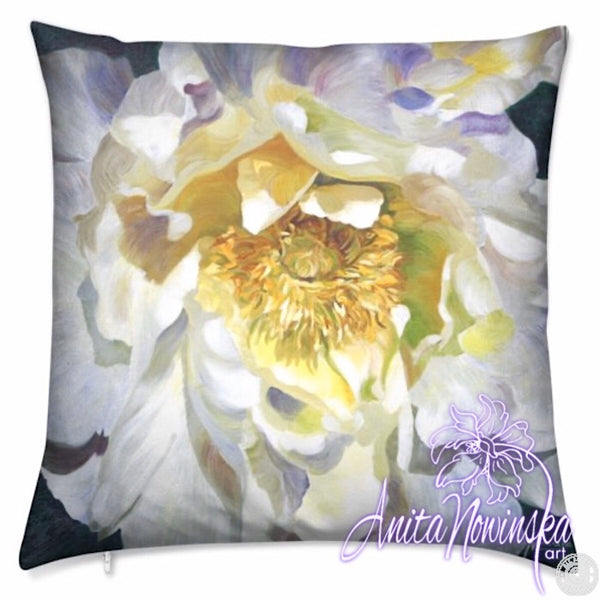 Luxury floral velvet cushion with white peony by Anita Nowinska