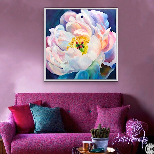 big oil on canvas flower painting of peony by Anita Nowinska