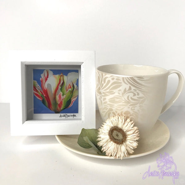 Gorgeous miniature floral print from Anita Nowinska flower painting, framed in white, making a perfect little gift of colour for your interior, tulip