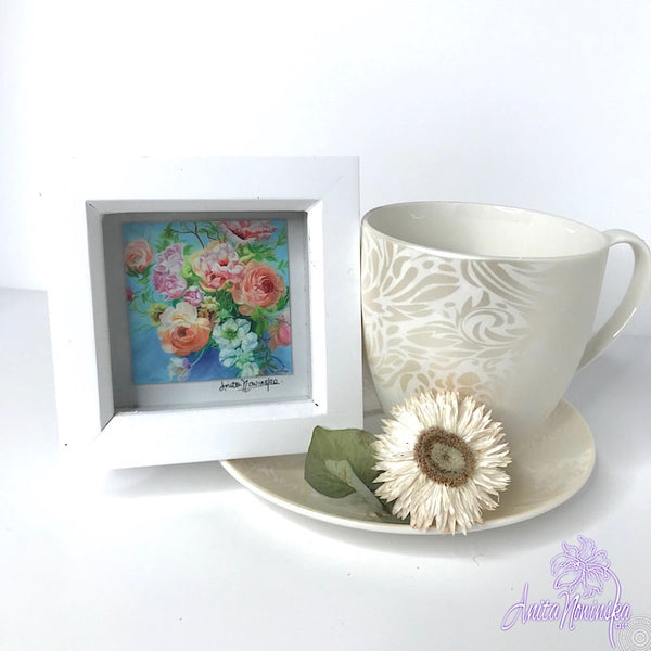 Gorgeous miniature floral print from Anita Nowinska flower painting, framed in white, making a perfect little gift of colour for your interior, wedding bouquet