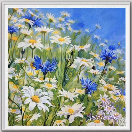 "12"" framed limited edition print of daisy & cornflower meadow flower painting by Anita Nowinska"