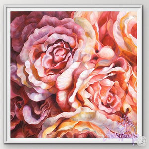 "12"" framed limited edition print of peach roses flower painting by Anita Nowinska"