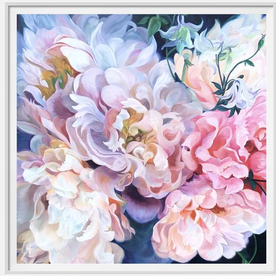 "12"" framed limited edition print of pink peonies flower painting by Anita Nowinska"