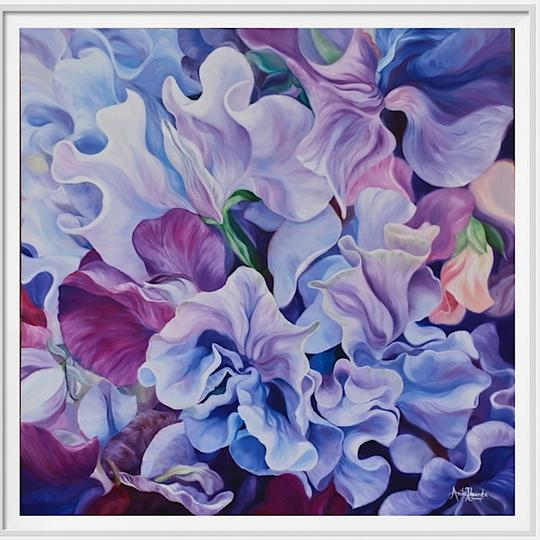 "12"" framed limited edition print of purple sweet peas flower painting by Anita Nowinska"