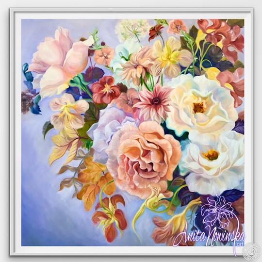 "12"" framed limited edition print of rose bouquet flower painting by Anita Nowinska"