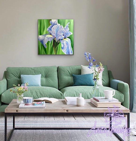 Soft pale blue iris flower painting in oil on canvas by Anita Nowinska as part of the big flower paintings collection