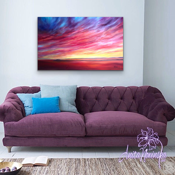 Blazing-  Red Sunset- Original Oil on Canvas