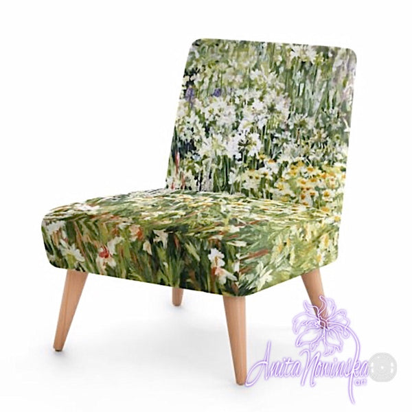 Small floral velvet chair, white & green garden by Anita Nowinska