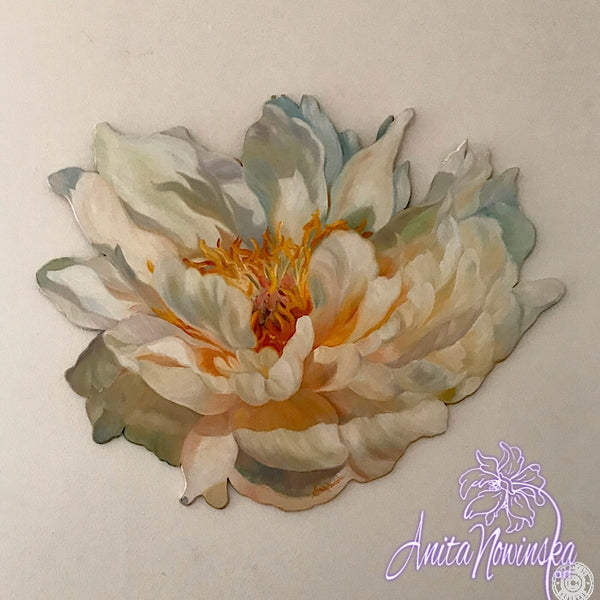 Unique freeform flower paintings- wall art-interior decor-peony