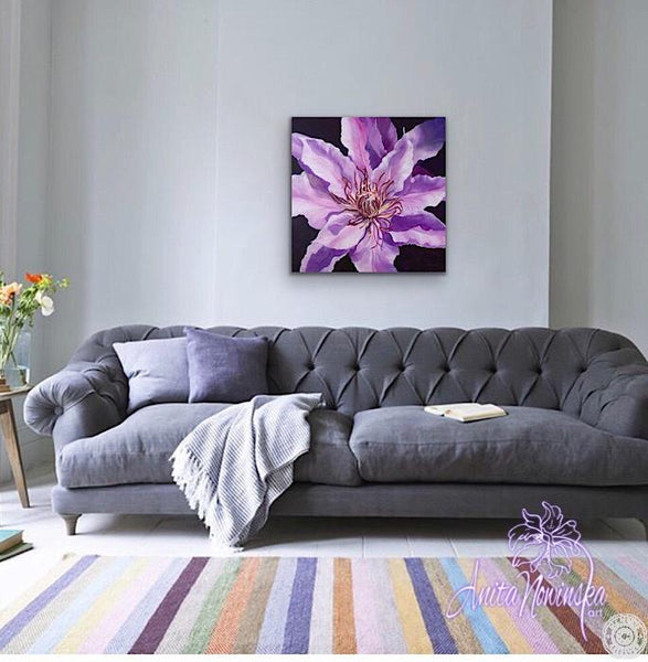 oil on canvas flower painting of purple clematis by anita Nowinska
