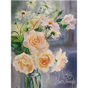 Delicate still life flower painting of pale peach roses and Dahlias in a glass bottle by a windowsill by Anita Nowinsak