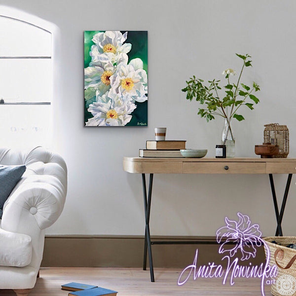 framed print of white peonies by anita Nowinska wall art