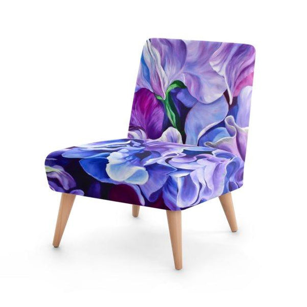 Small floral velvet chair, purple sweet peas by Anita Nowinska