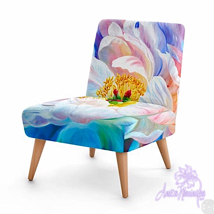 Small floral velvet chair, Peony flower by Anita Nowinska