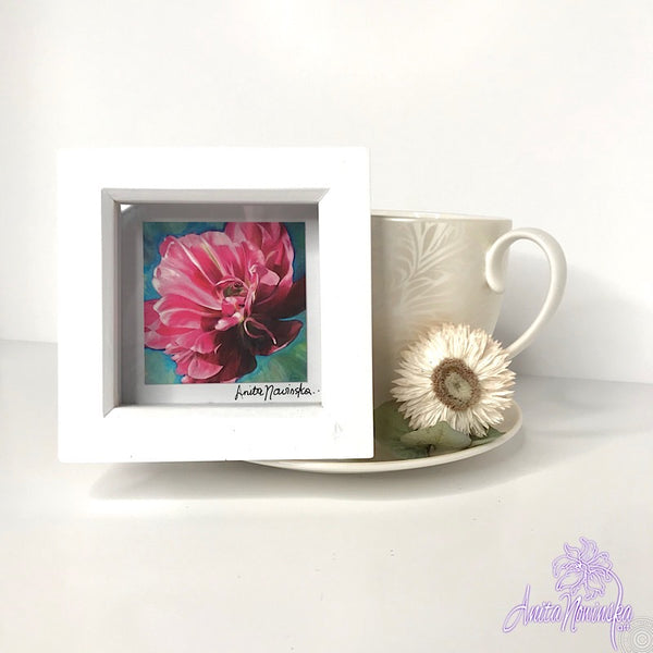 Gorgeous miniature floral print from Anita Nowinska flower painting, framed in white, making a perfect little gift of colour for your interior, pink tulip