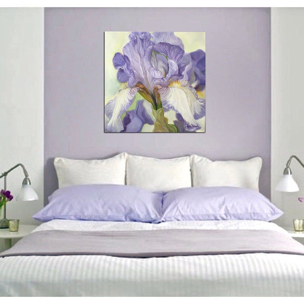 Beautiful soft lilac and cream iris painting creating relaxation through an original oil on canvas flower painting