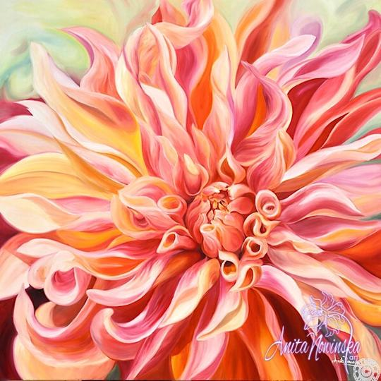 large canvas wall art of peach labyrinth dahlia flower painting by Anita Nowinska