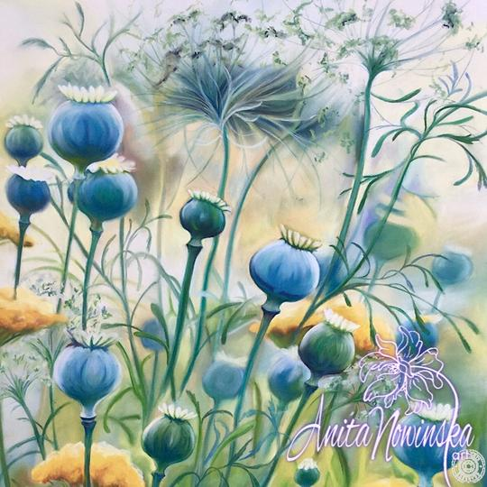 large canvas wall art of blue poppy pods flower painting by Anita Nowinska