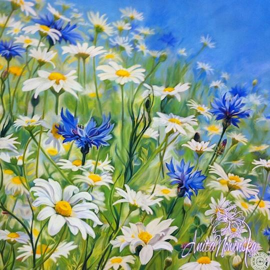 large canvas wall art of daisy & cornflower meadow flower painting by Anita Nowinska
