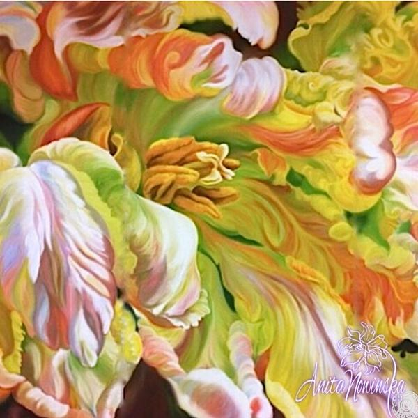 large canvas wall art of parrot tulip flower painting by Anita Nowinska
