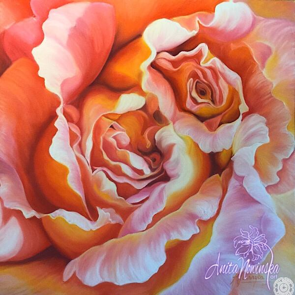 large canvas wall art of peach labyrinth rose flower painting by Anita Nowinska