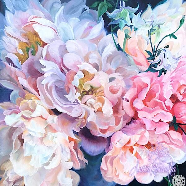 large canvas wall art of peach labyrinth pink peonies flower painting by Anita Nowinska