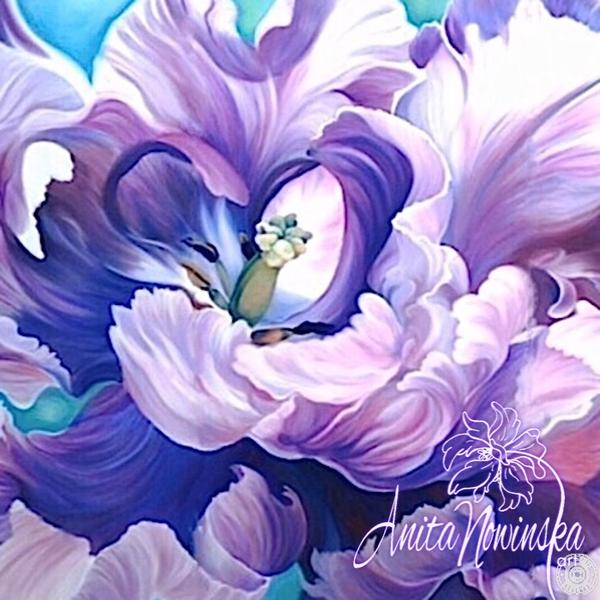 large canvas wall art of purple parrot tulip flower painting by Anita Nowinska