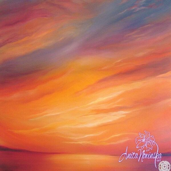 large canvas wall art of sunset painting by Anita Nowinska