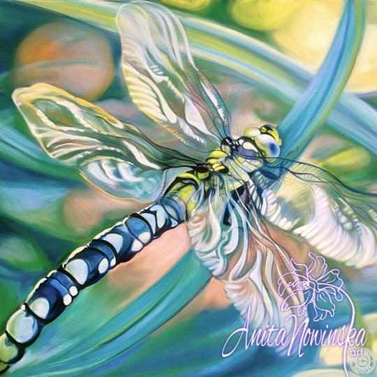 large canvas wall art of turquoise dragonfly painting by Anita Nowinska