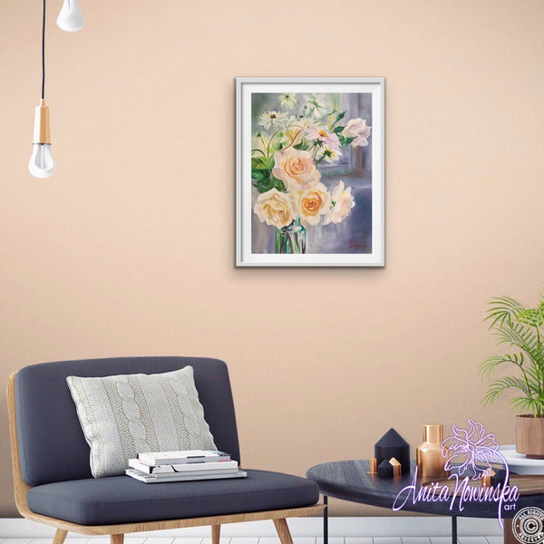 A3 limited edition framed print Delicate still life flower painting of pale peach roses and Dahlias in a glass bottle by a windowsill by Anita Nowinsak