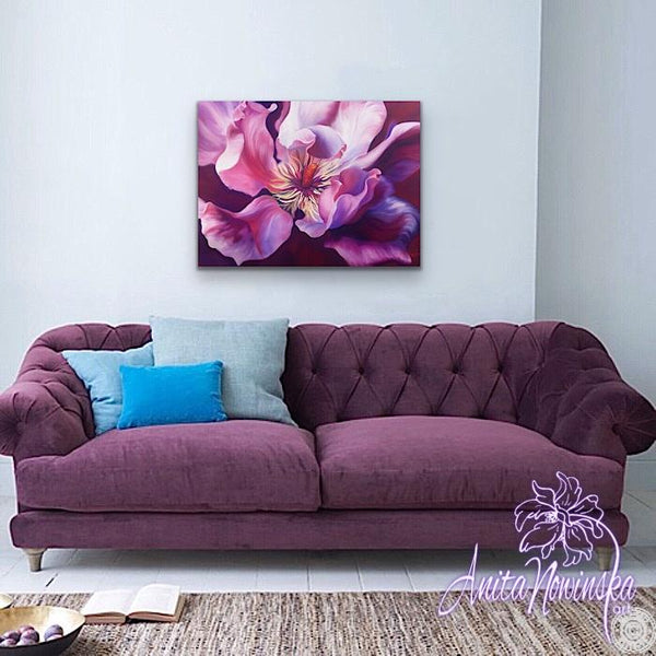 Sensation- Big flower painting of cerise pink magnolia grandiflora by Anita Nowinska