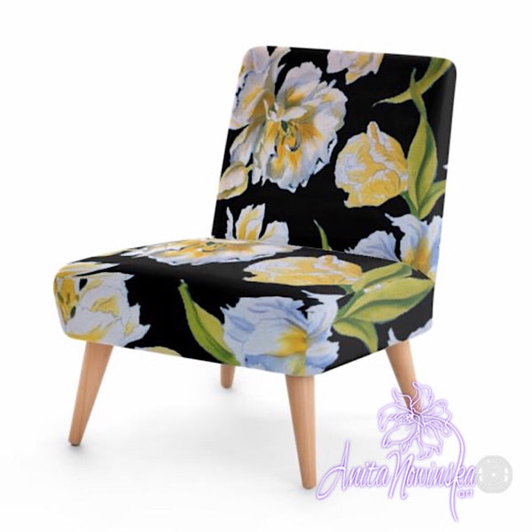 Small floral velvet chair, white & yellow tulips on black by Anita Nowinska