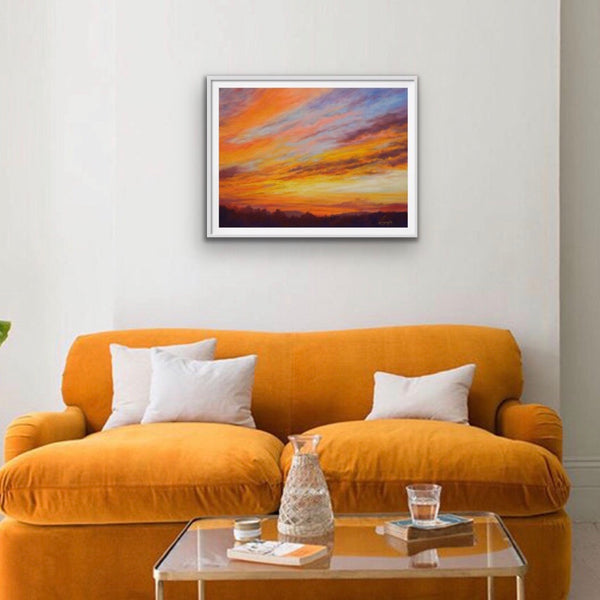 Framed print of blazing orange sunset painting