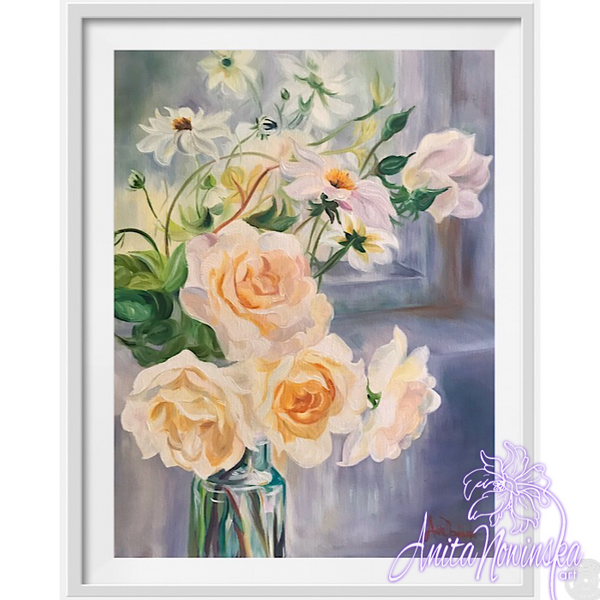 Limited edition print of Delicate still life flower painting of pale peach roses and Dahlias in a glass bottle by a windowsill by Anita Nowinsak