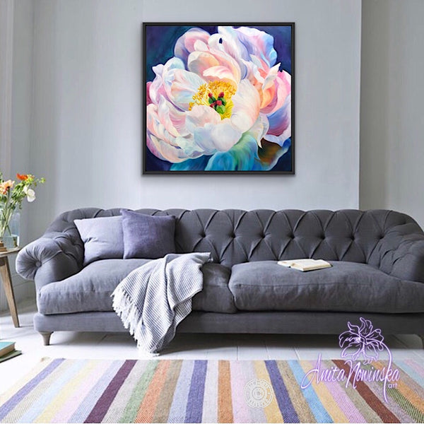 Big flower painting, oil on canvas of peony flower in full bloom by Anita Nowinska