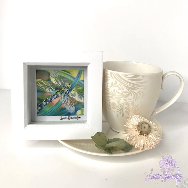 Gorgeous miniature floral print from Anita Nowinska flower painting, framed in white, making a perfect little gift of colour for your interior, dragonfly