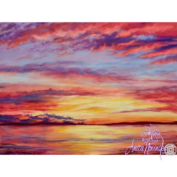 Towards Peace- Pastel Sunset painting