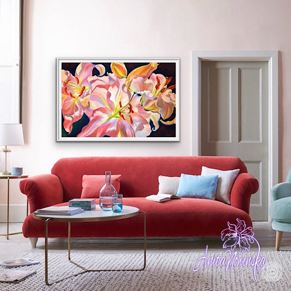 Triumph- Pink lilies big flower painting by Anita Nowinska