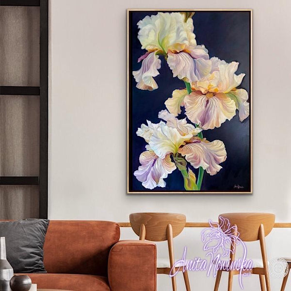 Flower painting of irises oil on canvas by Anita Nowinska