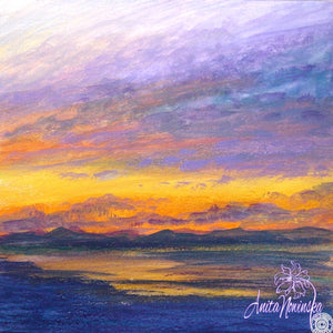 'Liquid Gold'- Mixed Media Sunset Painting