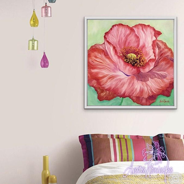 bright red poppy flower painting by Anita Nowinska wall art